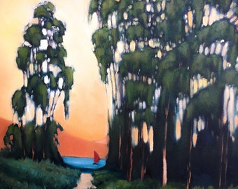 Original Oil Painting, Painting of Trees, sunset painting, painting of boat, yellow painting,original landscape painting, oil landscape