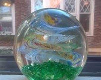 Swirling glass art paperweight