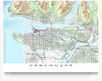 Vancouver City Map Print, BC Canada, Landscape Art