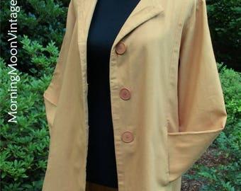 Vintage 90s Jacket, April Cornell, BOHO GRUNGE oversized light coat, India Cotton! Autumn Golden dark Yellow ochre AMBER, hipster Retro, S/M