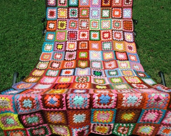 VINTAGE AFGHAN, Granny Squares Rainbow Afghan, LARGE Long crocheted Blanket, bright shabby chic blanket sofa throw, 70s Boho Hippie afghan