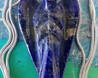 Large 2 Inch Hand Carved  Solid LAPIS LAZULI Crystal ANGEL Pendant, Guardian Angel Necklace with Chain, Optional Bracelet