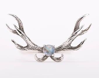 Deer Antler Ring Moonstone and Sterling Silver Adjustable Ring Boho Jewelry - FRI011