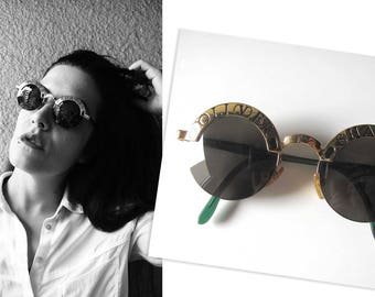 OLIVER SHADES Green/Gold Round sunglasses by VALENTINO