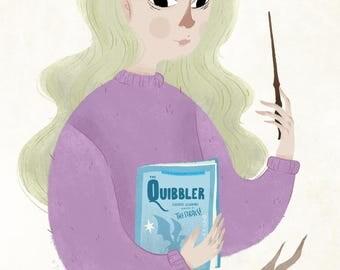 Luna Lovegood, fine art print, Harry Potter, 5x7