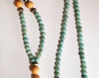 Amazonite & Riverstone Tassel Necklace