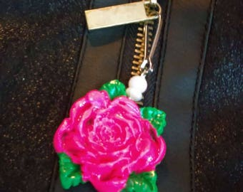 FREE SHIPPING Rose zipper pull
