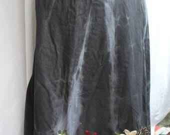Tie die cotton embroiderd long skirt