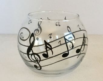 Hand Painted Musical Notes Glass Candle Holder - Musical Notes Glass Bowl