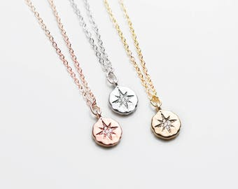 Dainty Compass Necklace - Travel Her Graduation Gift for Her Personalized Graduation Wanderlust Minimal Best Friend Necklace- DCN