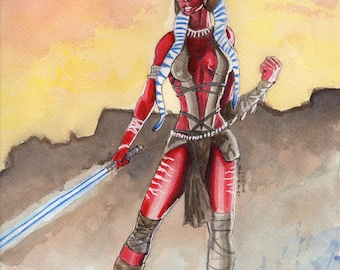 Shaak Ti watercolor original painting