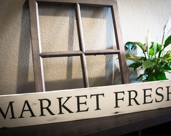 "Farmhouse ""Market Fresh"" Wood Sign 