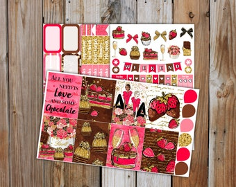Chocolate Love  Planner Sticker MINI Kit | Chocolate and Strawberries Valentines Planner Stickers Kit for use with Erin Condren Life Planner