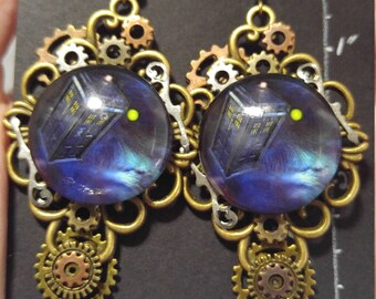 Dr Who Steampunk Inspired Earrings, Featuring the Tardis