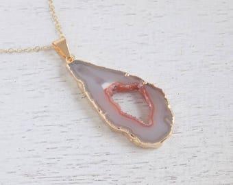 Festival Necklace, Crystal Necklace, Geode Necklace, Geode Slice Necklace, Long Druzy Pendant, Gold Stone Necklace Boho Layer Necklace 8-181