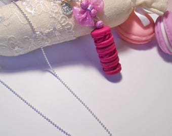 """Lariat Necklace trio of macarons in polymer clay """"fuchsia"""""""