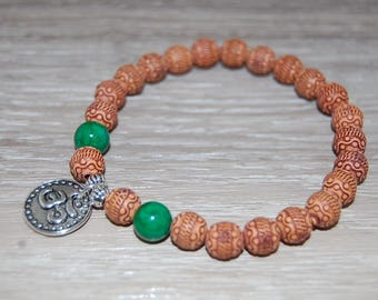 Om Bracelet,Mala Beads Bracelet,Yoga 8mm Beads,Elastic Bracelet Fit All,Stretch Bracelet,Man,Woman,Yoga,Protection,Meditation