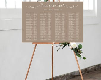 Printable Wedding Seating Chart, Digital File, Rustic Wedding Seat Assignments, Wedding Seating Chart, Personalized Seating Chart
