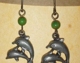 """Vintage Jewelry Earrings Jumping Dolphins Pierced Wires 5/8"""""""