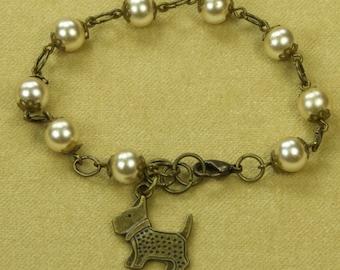 Vintage Pearl And Antiqued Bronze Scotty Dog Charm Bracelet