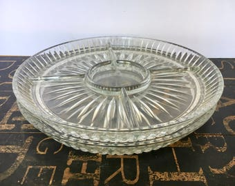 Two (2) Vintage Cut Glass Serving Platter w/Five (5) Sections, Clear Glass Relish Tray, 1960's, dinner party decor, hors d'oeuvre tray