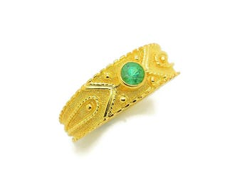 18K Solid Gold Ring, Emerald Engagement Ring, Byzantine Style Ring, Natural Emerald Ring, Genuine Emerald Ring, Delicate Gemstone Ring