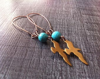 earrings, copper, brass, faceted turquoise bird charm