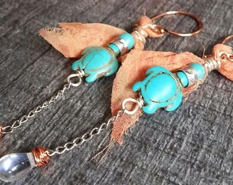 Long earrings turquoise, coral fabric, beads