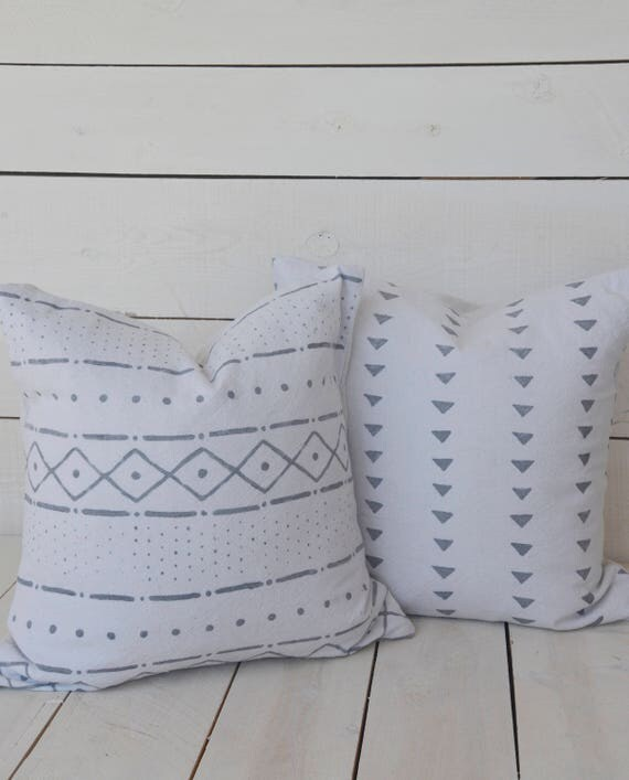 Mud Cloth style pillow cover, mixed pattern, gray, shown in 20x20 and available in 16x16, 18x18, 20x20, 16x24 and 16x26.