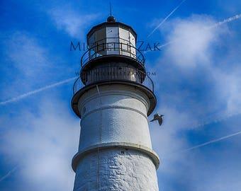 Lighthouse, Maine, Photo, Photograph, Photography, Bird, Portland Head Light, Bay, Christmas, Hanukkah,Harbor, Rocks, Clouds, Cape Elizabeth