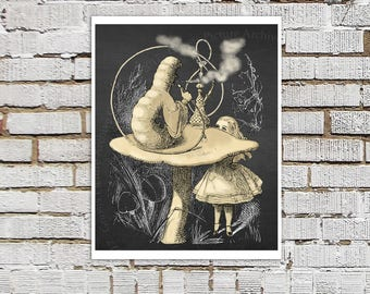Caterpillar and Alice Art Print Alice's Adventure in Wonderland Children's Literature Alice Wonderland Nursery Wall Decor
