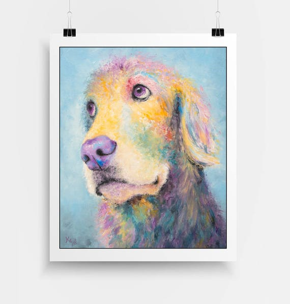 "Golden Retriever Art Print - Golden Retriever Gift, Colorful Dog Art Print of My Golden Retriever Painting ""Mr. Jones"""