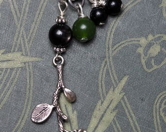 Blackthorn Leaf & Flower and Gemstone Ogham Pendant - Cursing and Protection - Pagan, Wicca, Witchcraft