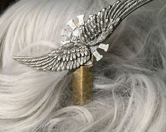 Festival Hair Trends Wing Wedding Hair Stick - Wedding Hair Accessories Steampunk Hair Stick - Steampunk Hair Accessories Wing Hair Pin Clip