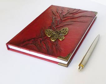 Red Journal, Leather Diary A5, Tree of Life, Butterfly Gift for Women, Girl, Writing Journal, Birthday, Annyiversary, Notebook, Leather Art