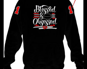 Hockey Blessed and Obsessed Hoodie, Hockey Mom Hoodie, Hockey Team Hoodie, Hockey Team Mom Gift, Hockey Mom Gift Sweatshirt, Hockey Hoodie