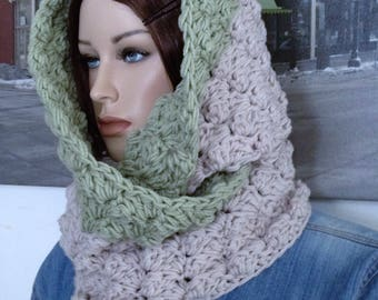 Handmade Winter Scarf Silvery Green & Misty Gray Scarf Reversible Colors Thick Warm Scrunchable Blanket Scarf Stitch Scarf for Him or Her