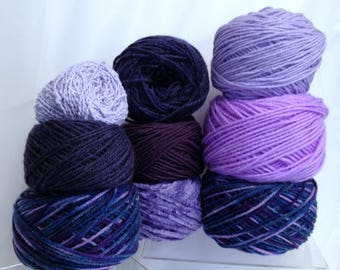 Purple Yarn Bundle Variety of Yarn Cakes Variegated Yarn Ultra Violet & Shades of Purple Worsted Yarn for Knitting + Crafting Fiber Flowers