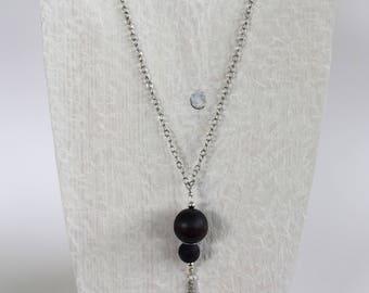 Black Tassel Necklace, Tassel Chain Necklace, Tassel Bead Necklace, Wood Bead Necklace, Long Necklace, Long Tassel Necklace, Simple Necklace