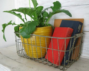 "Farmhouse Decor - Rustic Wire Basket with Wood Handles-  17"" x 10.25"" x 7"" deep Aged Farm Basket, Farmhouse Kitchen Baskets"