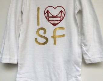 "BABY Onesie - ""I HEART SF"""