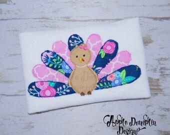 Turkey, Applique Design, Embroidery Design, Girl Turkey, Bean Stitch Turkey, Thanksgiving Embroidery, 4x4, 5x7, 6x10, 9x9