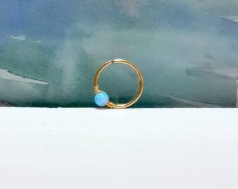 Light Blue Opal conch piercing, conch earring, conch jewelry,conch ring,conch hoop, conch piercing jewelry,16-22 Gauge, 12-16inner diameter