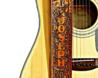 Country Western Horse Personalized Leather Adjustable Guitar Strap - Handmade Tan Guitar Straps - For Acoustic and Electrics Guitars