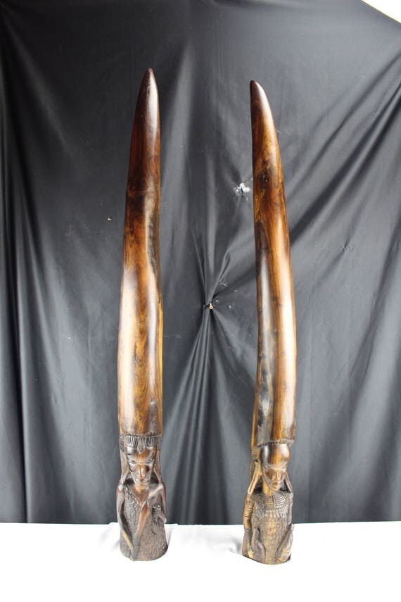 "41"" Tall Ironwood Carving Tusk Shaped African Royal Couple Fertility Talisman Fulani Tribe"