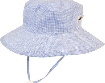 Child's Sun Protection 100% Linen Sunbaby Hat - Summer Day Linen in Navy Check (6 month, xxs, xs, s, m)