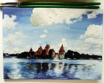 Trakai Castle Lithuania, Baltic States, Acrylic painting, Original artwork, 5x7'', Trakai, Small paintings, Wall decor, Home decor,