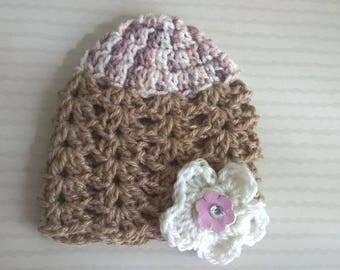 Beige string Deco Duo of flowers - crochet baby Hat