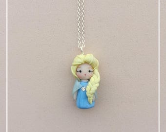 ELSA Frozen Fimo Polymer Clay Dolls Disney Princess Mini Chibi Kawaii Necklace-The snow queen Kingdom Ice Silver 925