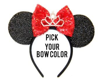 Tiara Minnie Mouse Ears, Princess Mickey Ears, Tiara Mickey Ears, Princess Minnie Ears, Princess Ears, Disneyland Ears, Elena Ears